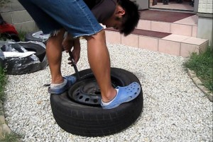 タイヤの取り付け(裏側)