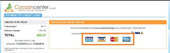 Cocooncenterでクレジットカードの種類を選択