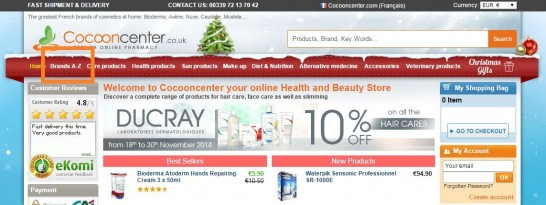 Cocooncenterのトップページ左上のブランドから検索
