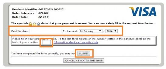 e-transactionsでクレジットカード情報を入力