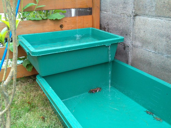 自作した2段の池の水が流れる様子