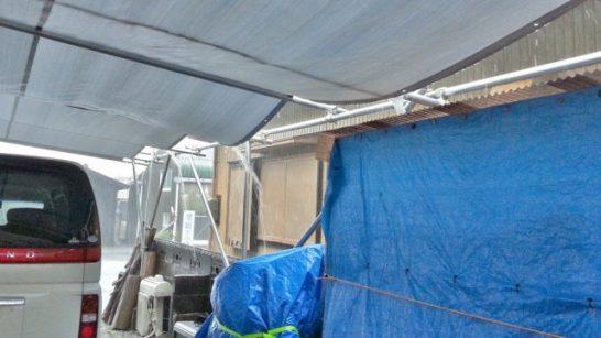 DIYカーポートの雨水がうまく排水される