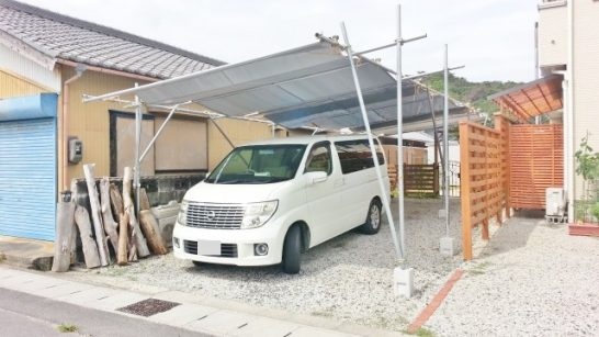 縦列駐車できるDIYカーポート