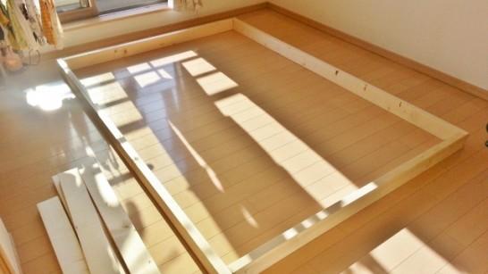 二段ベッドの枠を組み立てた状態