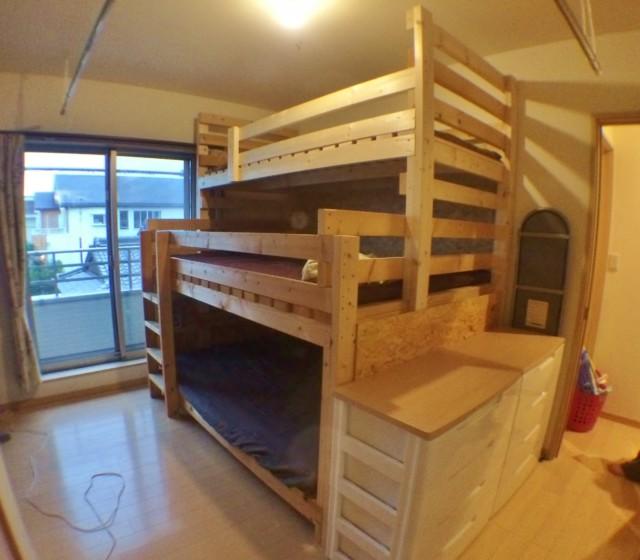 2×4で作ったDIY3段ベッド