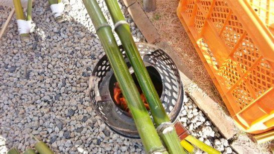 竹を炙るためのコンロ