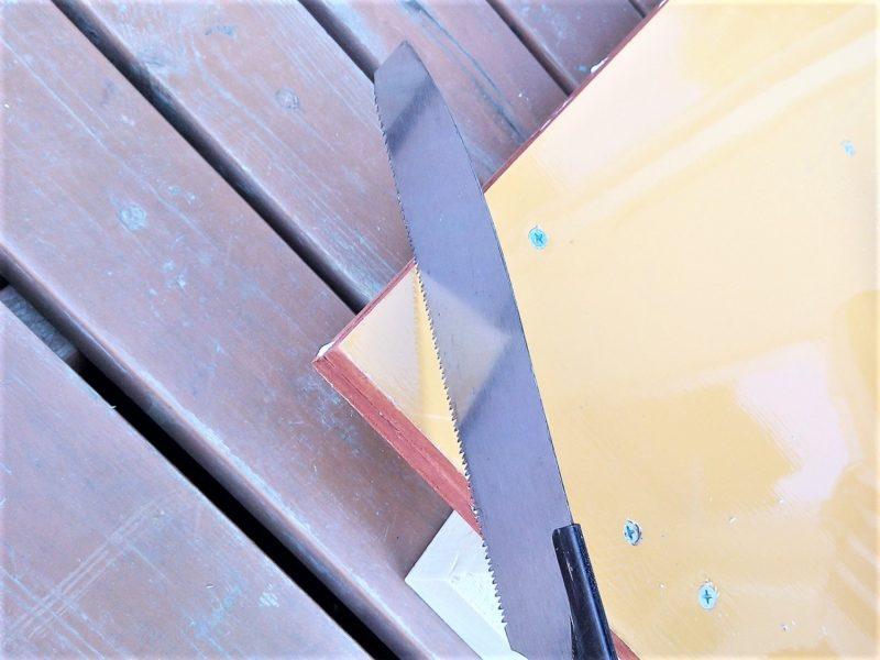 ベニヤ板の角をカット