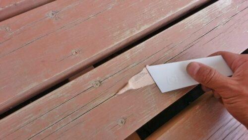ウッドデッキに木工パテを施工